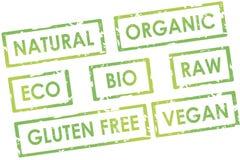 Ελκυστικό φυσικό οργανικό μοντέρνο πράσινο κολάζ γραμματοσήμων σχεδίου vegan Στοκ Φωτογραφίες