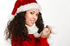 Ελκυστικό χαμόγελο κοριτσιών santa brunette Στοκ φωτογραφία με δικαίωμα ελεύθερης χρήσης