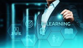 Ε-μαθαίνοντας εκπαίδευσης Διαδικτύου τεχνολογίας έννοια σειρών μαθημάτων Webinar σε απευθείας σύνδεση στοκ εικόνα με δικαίωμα ελεύθερης χρήσης