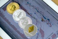 Ε-νομίσματα στον υπολογιστή ταμπλετών με τα διαγράμματα στην οθόνη Στοκ Εικόνες