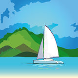 δεδομένου ότι η ανασκόπηση είναι μπλε οι βάρκες βαρκών μπορούν να κτυπήσουν σκοτεινό κ Στοκ εικόνες με δικαίωμα ελεύθερης χρήσης