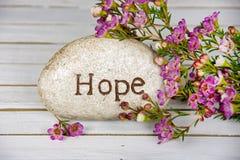 Ελπίδα που χαράζεται στην πέτρα με τα λουλούδια στοκ εικόνες με δικαίωμα ελεύθερης χρήσης