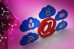 Ε - σημάδι ταχυδρομείου με app τα εικονίδια Στοκ εικόνα με δικαίωμα ελεύθερης χρήσης