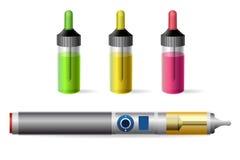 Ε-τσιγάρο ατμού και vaping μπουκάλι χυμού διανυσματική απεικόνιση