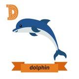 δελφίνι Επιστολή Δ Χαριτωμένο ζωικό αλφάβητο παιδιών στο διάνυσμα Funn ελεύθερη απεικόνιση δικαιώματος