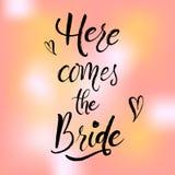 Εδώ έρχεται η νύφη Handlettering Στοκ Εικόνες