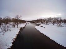 Ελώδης περιοχή Kushiro από τη γέφυρα Otowa, χειμώνας Στοκ Φωτογραφίες
