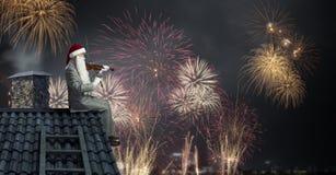 εδώ santa Μικτά μέσα Στοκ εικόνες με δικαίωμα ελεύθερης χρήσης