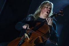 Ζάγκρεμπ, ΚΡΟΑΤΙΑ †«στις 3 Απριλίου 2017: Φινλανδικό pla Apocalyptica ζωνών Στοκ εικόνα με δικαίωμα ελεύθερης χρήσης