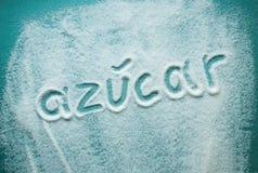 Ζάχαρη λέξης που γράφεται στα ισπανικά Στοκ εικόνες με δικαίωμα ελεύθερης χρήσης