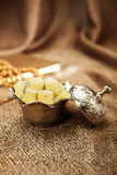 Ζάχαρη που τίθεται τουρκική με το lokum Στοκ Φωτογραφία