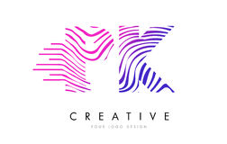 Ζέβες σχέδιο λογότυπων επιστολών γραμμών του PK Π Κ με τα ροδανιλίνης χρώματα Στοκ φωτογραφία με δικαίωμα ελεύθερης χρήσης