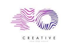 Ζέβες σχέδιο λογότυπων επιστολών γραμμών των FO Φ Ο με τα ροδανιλίνης χρώματα Στοκ Φωτογραφία