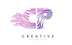 Ζέβες σχέδιο λογότυπων επιστολών γραμμών CP Γ Π με τα ροδανιλίνης χρώματα Στοκ φωτογραφίες με δικαίωμα ελεύθερης χρήσης