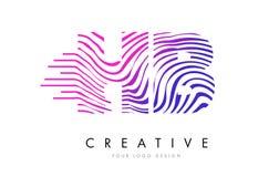 Ζέβες σχέδιο λογότυπων επιστολών γραμμών HB Χ Β με τα ροδανιλίνης χρώματα Στοκ φωτογραφία με δικαίωμα ελεύθερης χρήσης