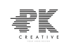 Ζέβες σχέδιο λογότυπων επιστολών του PK Π Κ με τα γραπτά λωρίδες Στοκ φωτογραφίες με δικαίωμα ελεύθερης χρήσης