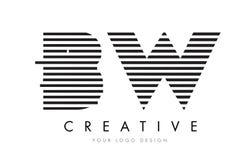 Ζέβες σχέδιο λογότυπων επιστολών bw Β W με τα γραπτά λωρίδες Στοκ Εικόνα