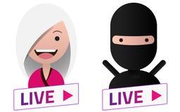 Ζήστε άσπρο σημάδι ρευμάτων με το σύνολο ειδώλων Ninja Έμβλημα, λογότυπο Διανυσματική απεικόνιση