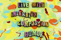 Ζήστε πίστη εμπιστοσύνης τιμιότητας αγάπης χιούμορ οίκτου ακεραιότητας ελεύθερη απεικόνιση δικαιώματος
