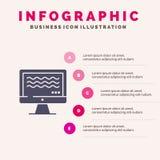 Ζήστε, ρέοντας, ζωντανή ροή, ψηφιακό στερεό εικονίδιο Infographics 5 υπόβαθρο παρουσίασης βημάτων απεικόνιση αποθεμάτων