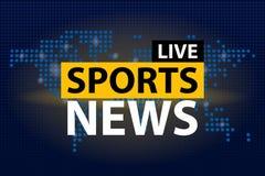 Ζήστε τίτλος αθλητικών ειδήσεων στο μπλε διαστιγμένο υπόβαθρο παγκόσμιων χαρτών επίσης corel σύρετε το διάνυσμα απεικόνισης Στοκ Εικόνες
