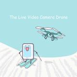 Ζήστε τηλεοπτικό cameradrone με το smartphone Στοκ εικόνα με δικαίωμα ελεύθερης χρήσης