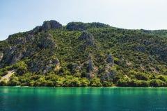 Ζαλίζοντας άποψη στη λίμνη της Οχρίδας, Μακεδονία στοκ φωτογραφία