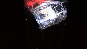 Ζαλίζοντας εικόνες των ποτών με τους καμμένος κύβους πάγου Φωτεινά χρώματα με τις φυσαλίδες σε ένα ποτήρι της σαμπάνιας απόθεμα βίντεο