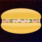 Ζαμπόν και φυτικό σάντουιτς διάνυσμα Στοκ εικόνα με δικαίωμα ελεύθερης χρήσης
