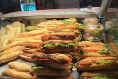 Ζαμπόν σάντουιτς και baguettes λαχανικών, γαλλικά τρόφιμα, Γαλλία Στοκ φωτογραφία με δικαίωμα ελεύθερης χρήσης