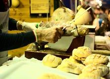 Ζαμπόν, τεμαχίζοντας εγχειρίδιο, φέτα, ιταλικά τρόφιμα, ιταλικό γούστο, ιταλική ειδικότητα, τρόφιμα Στοκ εικόνες με δικαίωμα ελεύθερης χρήσης