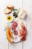 Ζαμπόν Antipasti, τυρί, πεπόνι Στοκ Εικόνες