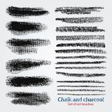Ζαρωμένες συστάσεις της κιμωλίας και του άνθρακα Δυναμικά διανυσματικά κτυπήματα βουρτσών Καλλιτεχνική βούρτσα Τα δείγματα σώζοντ διανυσματική απεικόνιση