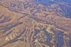 Ζαρωμένο τοπίο του Ουαϊόμινγκ από τον αέρα Στοκ Φωτογραφίες