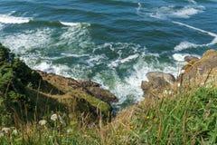 Ζαλίζοντας άποψη της ειρηνικής βορειοδυτικής ακτής από το κρατικό πάρκο Ουάσιγκτον ΗΠΑ απογοήτευσης ακρωτηρίων Στοκ εικόνα με δικαίωμα ελεύθερης χρήσης