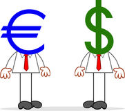 Ζευγάρι επιχειρηματιών κινούμενων σχεδίων με τα κεφάλια ευρώ και δολαρίων. Στοκ εικόνα με δικαίωμα ελεύθερης χρήσης