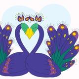 Ζευγάρι σχεδίων χεριών του peacock Στοκ Εικόνες