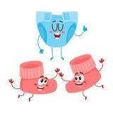 Ζευγάρι της αστείας λείας μωρών, χαρακτήρες καλτσών που παίζει από κοινού ελεύθερη απεικόνιση δικαιώματος