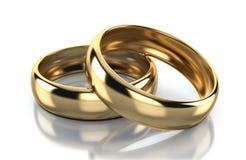 Ζευγάρι του χρυσού δαχτυλιδιού που απομονώνεται στο άσπρο υπόβαθρο απεικόνιση αποθεμάτων