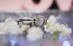 Ζευγάρι των ασημένιων γαμήλιων δαχτυλιδιών Στοκ Εικόνες