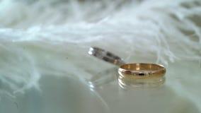 Ζευγάρι των γαμήλιων δαχτυλιδιών απόθεμα βίντεο