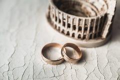 Ζευγάρι των γαμήλιων χρυσών δαχτυλιδιών στο ραγισμένο δέρμα Στοκ εικόνα με δικαίωμα ελεύθερης χρήσης
