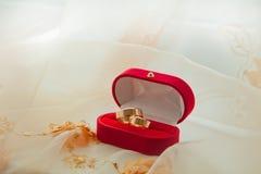 Ζευγάρι των γαμήλιων δαχτυλιδιών σε ένα κιβώτιο δώρων Στοκ Φωτογραφίες