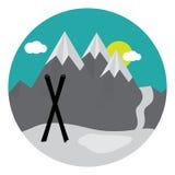Ζευγάρι των διαγώνιων σκι στο χιόνι Στοκ Εικόνες
