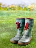 Μοντέρνες πράσινες μπότες με τις κόκκινες δαντέλλες Στοκ Εικόνα