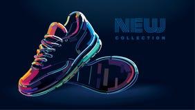Ζευγάρι των νέων αθλητικών τρέχοντας παπουτσιών απεικόνιση αποθεμάτων