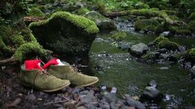 Ζευγάρι των παπουτσιών με τις κάλτσες από έναν κολπίσκο απόθεμα βίντεο