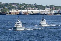 Ζευγάρι των περιπολικών σκαφών κρατικής αστυνομίας της Μασαχουσέτης Στοκ εικόνα με δικαίωμα ελεύθερης χρήσης