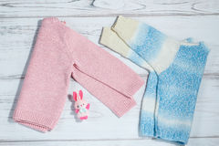 Ζευγάρι των πουλόβερ για τα μωρά Στοκ Εικόνες