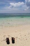Ζευγάρι των σαγιονάρων στην παραλία Ilig Iligan, νησί Boracay, Φιλιππίνες στοκ εικόνες με δικαίωμα ελεύθερης χρήσης